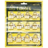 Замок навесной для чемодана 15,20,25мм ЗЧ-149 (Желтые) чугун 2кл. 12шт/лист