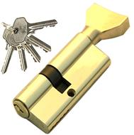 Цилиндровый механизм PLP NW40/30 английский ключ/вертушка PB Полированная латунь
